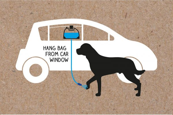 The K9 Clean Portable Pet Shower can easily rinse your dog's paws from any car window.