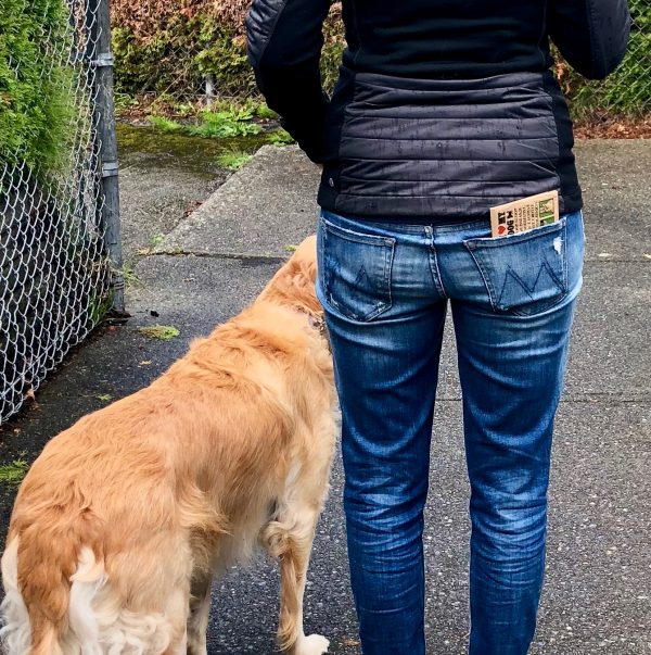 The Eco Poop Scoop bag easily fits in your back pocket when you're walking your pup.