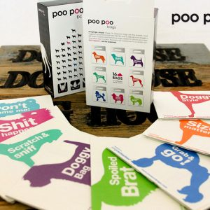 The Designer Poo Poo bags are totally compostable and feature witty sayings to spice up taking your dog out.