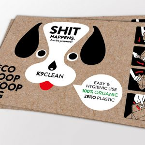 The Eco Poop Scoop Bags, an easy and hygienic use 100% Organic, Zero Plastic bag.
