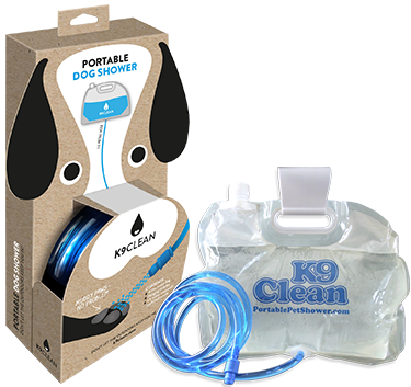 The Portable Pet Shower, both in and out of its recyclable packaging.