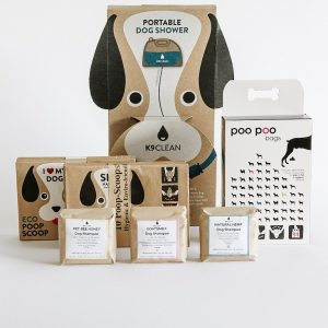The products in the K9 Clean Doggy Box, full of fun and eco-friendly dog products.