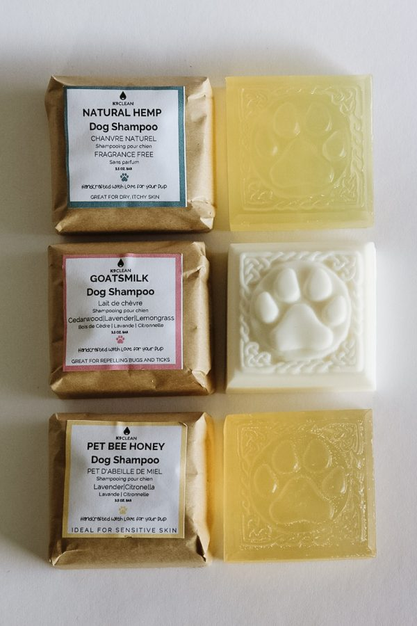 Enjoy all three of our zero-waste dog shampoo bars, cleaning your dog's coat with no plastic involved!