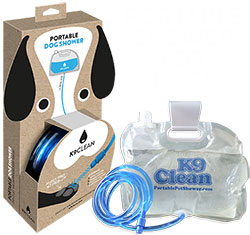Packaging for the K9 Clean Portable Pet Shower, which easily hangs from any car or door.