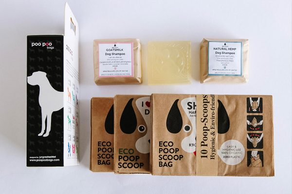 A great Eco-Friendly Dog Starter Kit, this kit includes biodegradable paper poop bags and zero-waste shampoo bars.