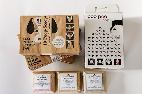Enjoy the Eco-Friendly Dog kit, with totally biodegradable dog poop bags and zero-waste dog shampoo bars.